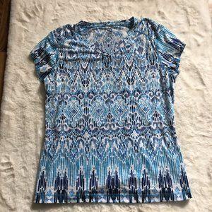 Title Nine Blue Printed Ikat Matahari V-neck sz M
